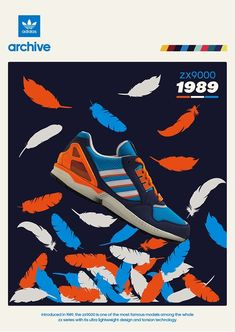 1989 was a big year for adidas, releasing some of the most revolutionary running shoes to date, such as the technologically advanced It was one of Adidas Ads, Sneaker Posters, Shoe Advertising, Shoe Poster, Casual Art, Adidas Design, Kicks Shoes, Adidas Originals, The Originals