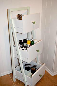 16 fabulous ways to repurpose old dresser drawers - ladder shelf organizer
