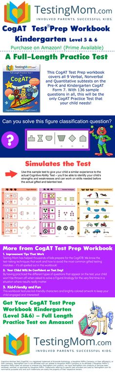 The CogAT (Cognitive Abilities Test) is a reasoning and problem-solving exam that is used to quality Kindergarten through grade students for gifted and talented programs. Toddler Learning Activities, Educational Activities, Preschool Activities, Kindergarten Curriculum, Kindergarten Assessment, Tutoring Business, Preschool At Home, Kids Education, Test Prep