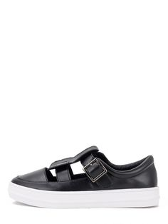 Shop Black Round Toe Buckle Cutout Thick-soled Sneakers online. SheIn offers…