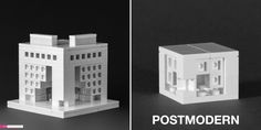 Postmodern office building as featured in The LEGO Architect (left) and in Nanoscale (right)