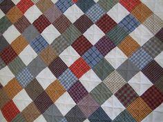 Plaid Plaid Quilt 2 by sewcurious, via Flickr. Inspiration for plaid/denim/khaki quilt for Sean