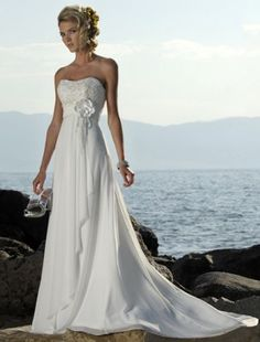 (FITS004371)Empire Sweetheart Court Trains Sleeveless Chiffon Beach Wedding Dress For Brides