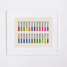 Scientific Rainbow Colored Test Tube Chart Art Print Poster