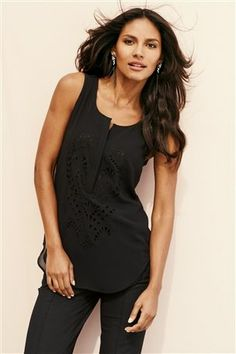 Sleeveless cutwork embroidered top