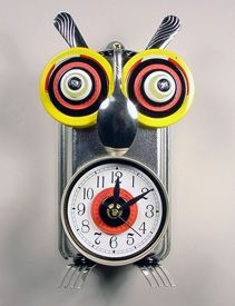 Owl Clock by Susan Boss and Mark Brown. His body is made from a baking pan!