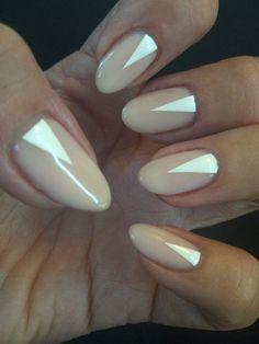 triangle mani, geometric nail art, nude nails