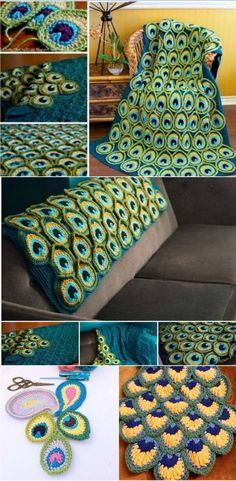 My jaw hit the floor when I saw how beautiful the finished result was. I am definitely going to use this idea to make a blanket! Blankets Diagramm How to Make a Crocheted Peacock Feather Blanket Crochet Afghans, Crochet Blanket Patterns, Crochet Stitches, Knit Crochet, Crochet Blankets, Crochet Motif, Crochet Crafts, Yarn Crafts, Crochet Projects