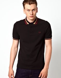 Image 1 ofFred Perry Bold Collar Tipping Polo