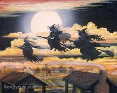 Halloween Folk Art Witch Print All Hallow's Eve Three Witches Fly Byrum Art MHA Team