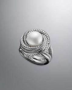 David Yurman Pearl Crossover Ring, Pave Diamonds - Neiman Marcus
