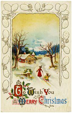vintage christmas postcards | Free Digital Merry Christmas Vintage Postcard | Old Design Shop Blog