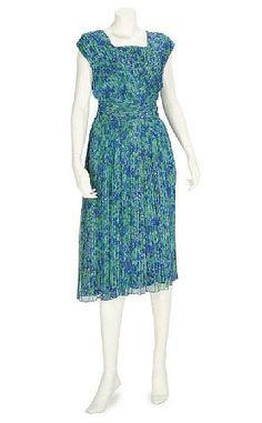 HARDY AMIES AND MARSHALL & SNELLGROVE a finely pleated sleeveless day dress of silk chiffon, in sapphire blue and turquoise floral print, with matching sash belt, labelled Hardy Amies, Day Dresses, Summer Dresses, Formal Dresses, Hardy Amies, Check Coat, Sash Belts, Silk Chiffon, Black Satin, Mother Of The Bride
