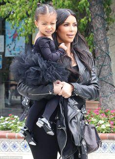 Tutu cute! Kim Kardashian takes her little ballerina Nori to dance class wearing matching leather jackets on Thursday