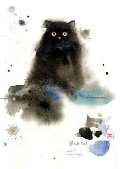 Fluffy Black Cat | Bug Art Greeting Cards by Jane Crowther