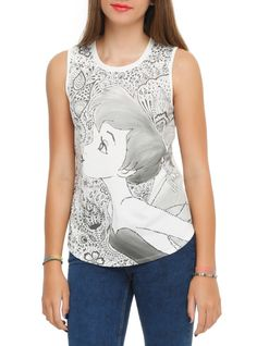 Sleeveless top from Disney with tonal ink wash style Tinker Bell sublimation print design on front.
