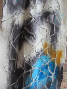 Felting on silk fabric with a cracked effect by Mellowgoat Studio