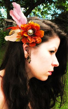 Tribal Flower Hair Clip with feathers by UrsidaeDesigns on Etsy, $20.00