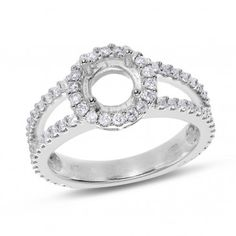 Vow to Wow, 14K White Gold SI Round Diamond Semi Mounting Ring, 3/4 ctw