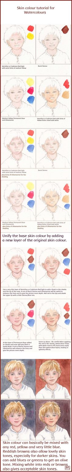 Skin Color Tutorial for Watercolors by Leochi. on watercolor skin color tutorial reference Watercolor Tips, Watercolour Tutorials, Watercolor Portraits, Watercolor Techniques, Art Techniques, Watercolour Painting, Painting & Drawing, Watercolours, Painting Flowers
