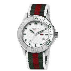 Gucci Men's YA126231 G-Timeless Dive White Dial Nylon Strap Watch
