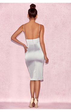 c8ef8196acc Crafted from a heavyweight stretch satin and features a deep plunge V  neckline