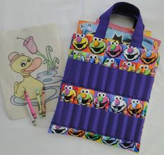 elmo coloring book and crayon holder bagtote kids by shoppebylola 2000 - Coloring Book And Crayon Holder