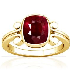 Blood Red Color, Gold Cushions, Ruby Jewelry, Time Shop, Solitaire Ring, Cushion Cut, Gemstone Colors, White Gold, Jewels