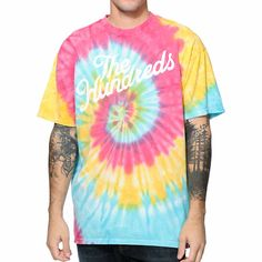 Grab nothing but peaceful vibes with the groovy look of The Hundreds Slant tie dye tee shirt. Keep it hippie in the classic red, blue, green, and yellow tie dye colorway, white The Hundreds slant script graphic at the chest, and a small white Adam Bomb lo
