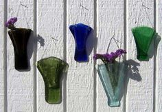 Fusing with Bottle Glass: Recycled Wine Bottle Wall Vases Stained Glass Suncatchers, Fused Glass Art, Mosaic Glass, Glass Vase, Mosaic Mirrors, Mosaic Art, Sea Glass, Wine Bottle Candles, Recycled Glass Bottles