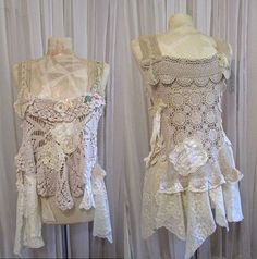 Shabby Boho Chic Top, romantic vintage doilies vintage lace, stained tattered torn frayed effects, magnolia, creme antique white, MEDIUM