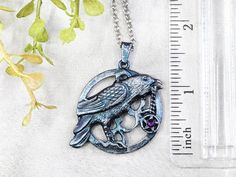 Raven Necklace Crow Necklace Wiccan Jewelry / Pagan Jewelry image 3 Wiccan Jewelry, Gothic Jewelry, Pagan Witch, Blue And Silver, Crow, Raven, Swarovski Crystals, Pendant Necklace, Gifts