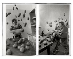 Anna et Bernhard Blume. By freezing the frame with the potatoes suspended in the air, creates the suspense. The viewer can use their imagination to tell what will happen next. Editorial Layout, Editorial Design, Photography Classes, Art Photography, Anna, Centre Pompidou, Photo Boards, Book Design, Black And White