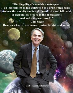"""""""The illegality of cannabis is outrageous, an impediment to full utilization of a drug which helps produce the serenity and insight, sensitivity and fellowship so desperately needed in this increasingly mad and dangerous world."""" - Carl Sagan"""