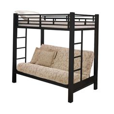 Black Twin Futon Bunk Bed Home Source Industries Twin Bunk & Loft Beds Bedroom Furniture