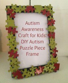 Autism Awareness Craft for Kids: DIY Autism Puzzle Piece Frame