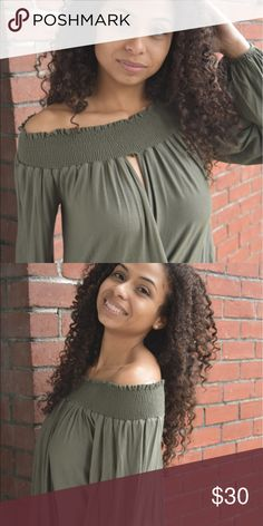 """🎀NEW🎀 Olive"""" My Shine You've got to love this off-the-shoulder style! Grab this fabulous long-sleeve tunic while you can. It's super-comfortable and the flowing design is perfect for the transitional weather.   Model: 5'2 / Bust 32 / Waist 25 and is wearing a small.  Material: 95% Rayon and 5% Spandex Tops"""