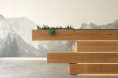 Mostrador de recepción de madera
