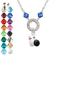 Bowling Pins with Bowling Ball - Custom Engraved Eternity Circle Crystal Necklace - Wedding nacklaces (*Amazon Partner-Link)