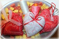 Quilted heart ornaments
