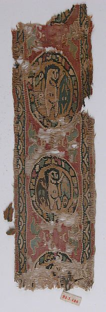 Fragment Date: 6th–7th century Geography: Egypt Culture: Coptic Medium: Wool, linen; tapestry weave Dimensions: 10 15/16 in. high 3 1/8 in. wide (27.8 cm high 8 cm wide) Classification: Textiles