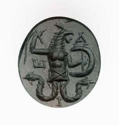 Oval gem with rooster-headed, snake-legged deity in armor, holding a whip | Museum of Fine Arts, Boston