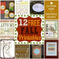 Daily Frugal Tip: 12 Free Fall Decor Printables Thanksgiving Crafts, Fall Crafts, Holiday Crafts, Holiday Fun, Kids Crafts, Holiday Ideas, Holiday Decor, Project Life, Hallowen Ideas