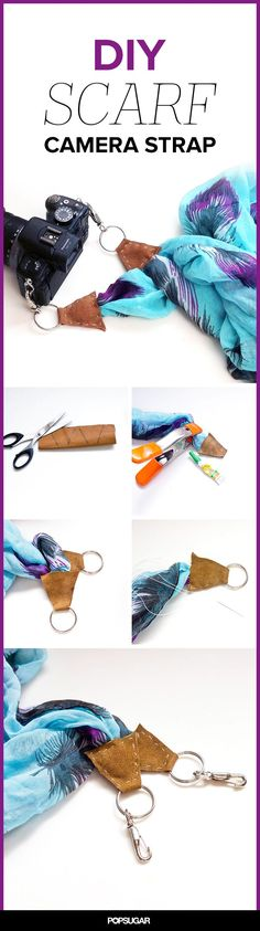 Breathe new life into an old scarf by converting it into a cute camera strap! #DIY