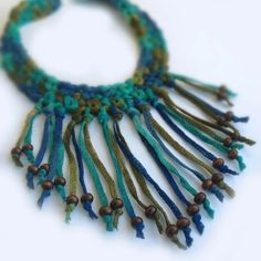 Crochet Long Fringe Choker With Wood Beads in Aquamarine, Bright Turquoise, Royal Blue and Dark Olive Green