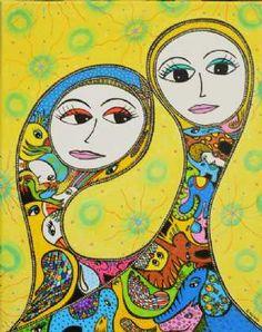 Kunstsamlingen | Artist: Barbara Kaad Ostenfeld | Title: EleFantastisk Forbindelse / ElePhantastic Connection | Height: 50cm,  Width: 50cm | Find it at kunstsamlingen.com #kunstsamlingen #kunst #artcollection #art #painting #maleri #galleri #gallery #onlinegallery #onlinegalleri #kunstner #artist #danishartists #bakaos