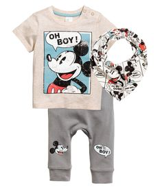Set in soft cotton jersey. T-shirt with a print motif on the front and press-studs on one shoulder. Trousers with an elasticated waist, printed legs and rib Disney Baby Clothes, Cute Baby Clothes, Disney Outfits, Little Boy Outfits, Baby Boy Outfits, Kids Outfits, Kids Fashion Boy, Toddler Fashion, Garçonnet Swag