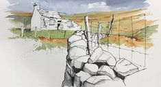 The online home of John Harrison, artist: purveyor of line drawings with watercolour Watercolor Painting Techniques, Watercolor Landscape Paintings, Watercolor Sketch, Watercolour Painting, Watercolor Ideas, Landscape Sketch, Landscape Drawings, Landscapes, The Artist's Way