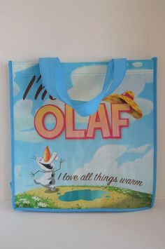 Disney Frozen Olaf Character blue shopping tote bag I Love All Things Warm  #DisneyFrozenOlaf #TotesShoppers