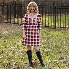 Ladies Black Red Plaid Knit Olivia Dress – Lolly Wolly Doodle